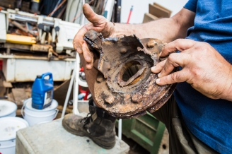 Our rusted-out rudder pillar - just one of the many other jobs on the list for the boat yard folks.
